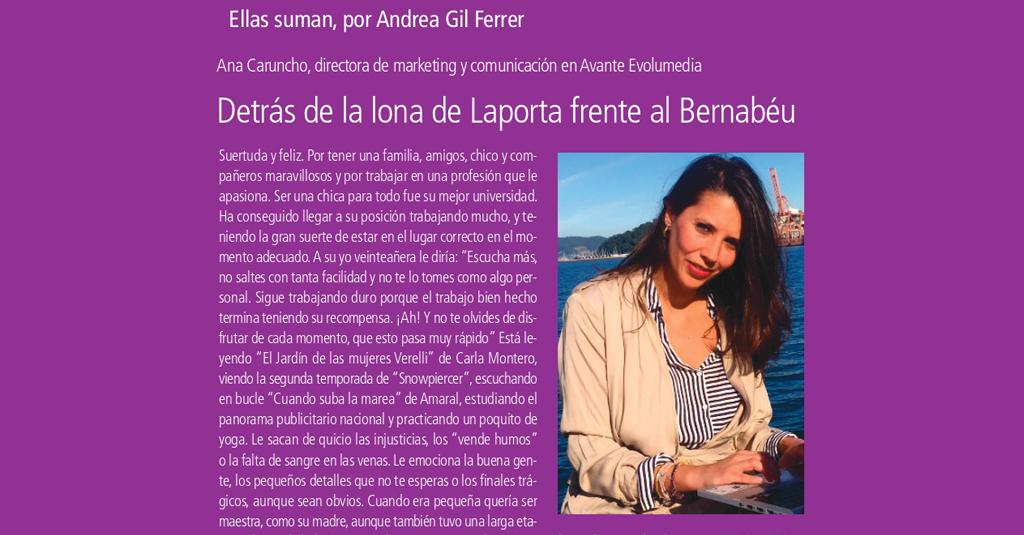 Ana Caruncho protagoniza la sección «Ellas Suman» de El Publicista