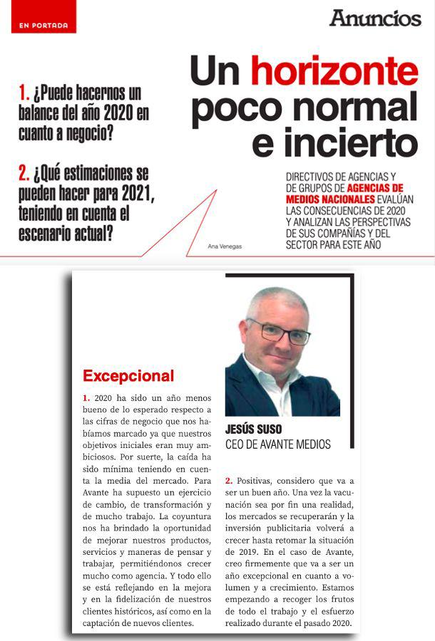 Jesus Suso CEO de Avante Medios reflexiona en la Revista Anuncios